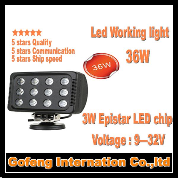 1PCS/LOT DC10-30V new products 36w spot 12pcsx3W epistar chip Truck Offroad 12V led work light car lamp free shipping
