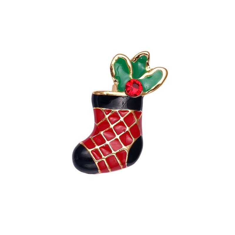 Baiduqiandu Hadiah Natal Boots Bintang Bros Berlian Imitasi Sepatu Merah Enamel Wanita Anak Mantel Tas Perhiasan Aksesoris