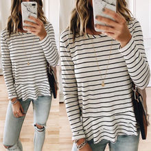 2018 Black White Striped Long Sleeve T Shirts all match tee strip Loose Round Ne