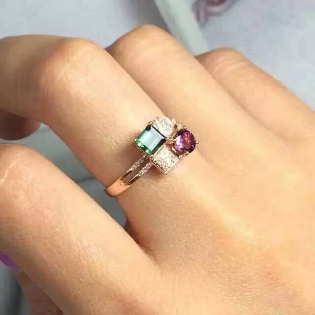 Natural tourmaline ring Natural gemstone ring S925 sterling silver ring trendy Elegant Square energy women gift