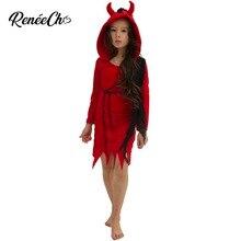 ליל כל הקדושים תלבושות לילדים 2018 בנות שטן שד תחפושת ערפד אדום מפחיד קוספליי בגדי ברזל שרשרת הדפסת שמלת ברדס