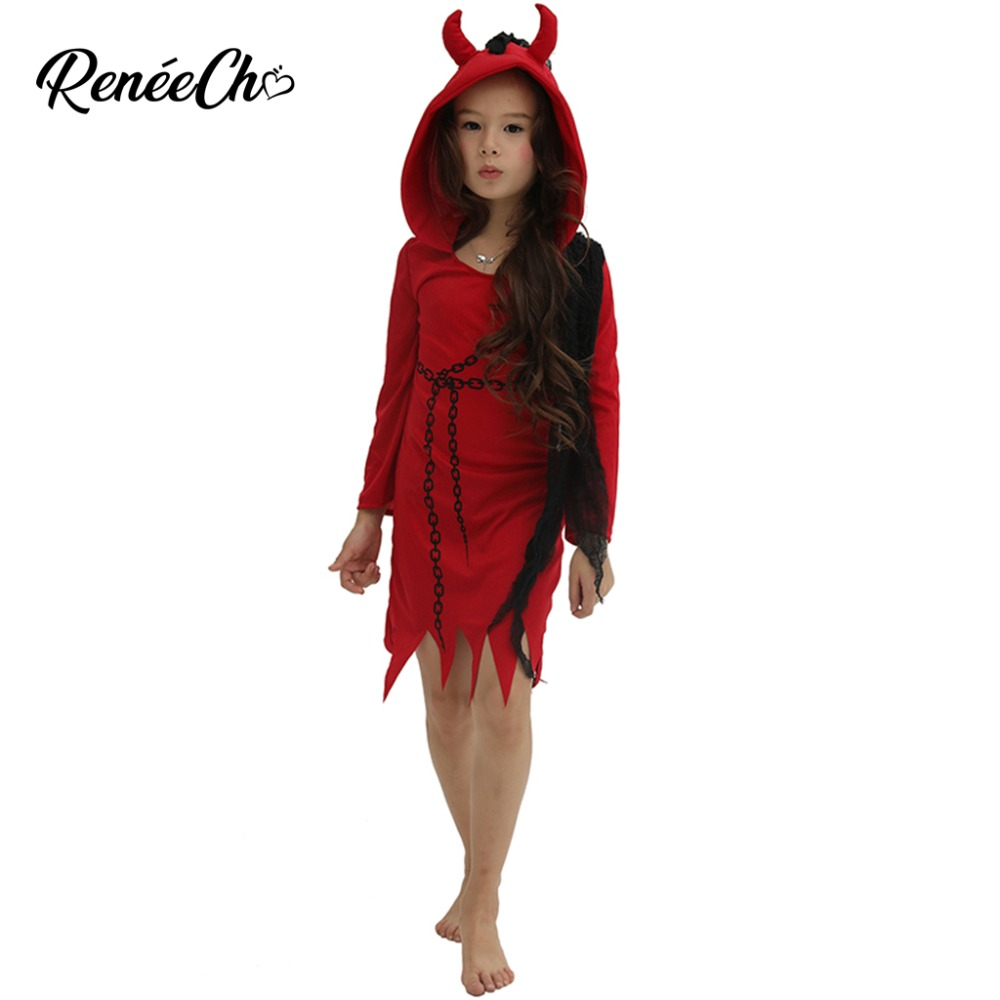 Halloween Costume For Kids 2018 Girls Devil Costume Demon Vampire Red Scary cosplay Clothing Iron Chain Print Dress Hooded
