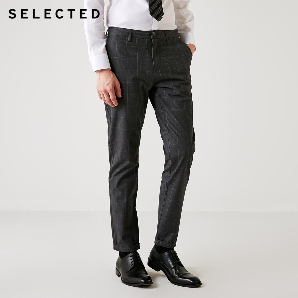 SELECTED Autumn New Men's Pure Cotton Lattice Business Casual Pants S|418314507