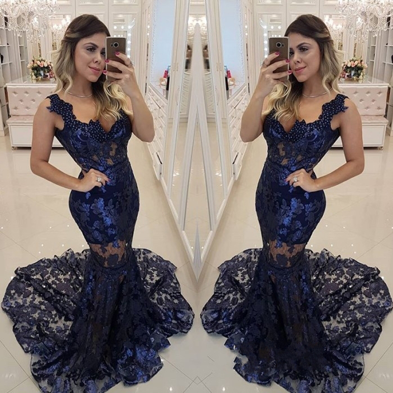 c82e76daa805b Modern Dark Navy Lace Prom Gown Sexy Spaghetti Strap Mermaid Evening Gown  Maxi Long Women Party Dress Free Custom Made Vestido