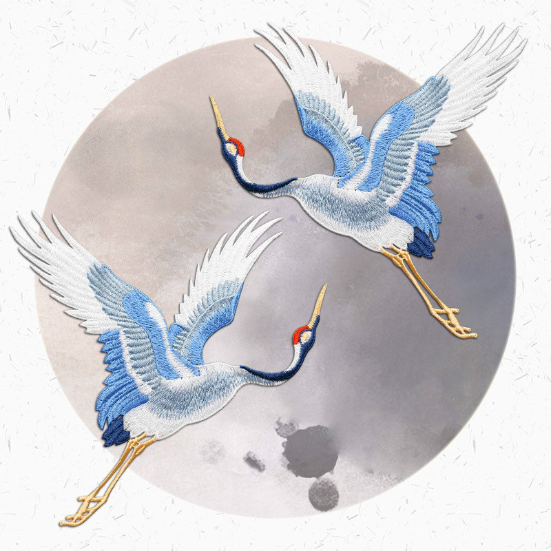 Chinese Style Patches For Clothing Embroidery Applique Sew On Red-crowned Crane Birds Decor DIY Embroidered Stickers For Clothes