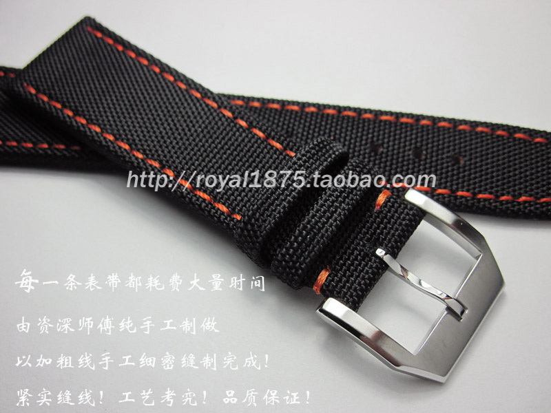 Excellent blue 20mm 21mm 22mm composite fiber canvas watchband orange ine inside leather Men straps for pilots climbing sports in Watchbands from Watches