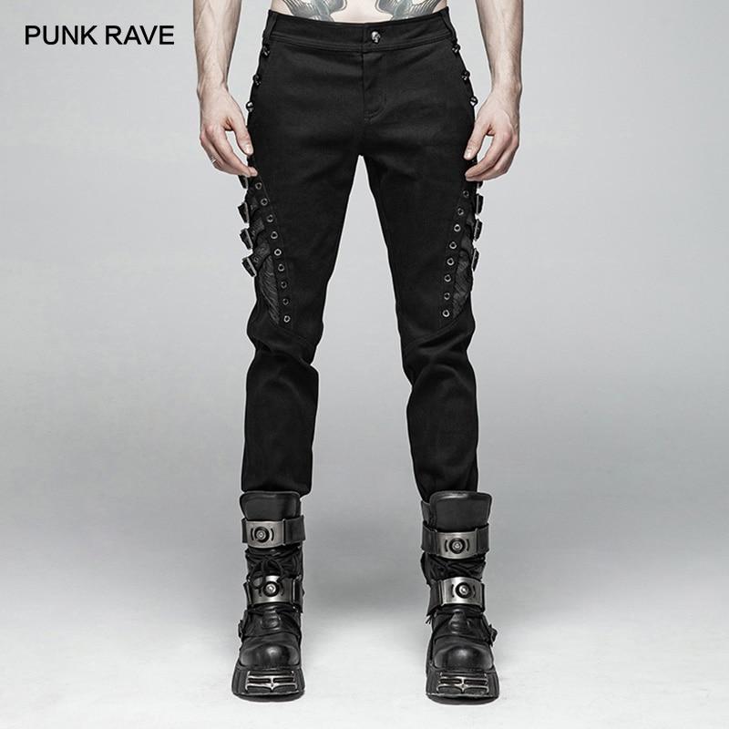 Панк рейв для мужчин Панк Рок Личность Длинные брюки для девочек модные повседневное s штаны с заклепками уличная хип хоп х