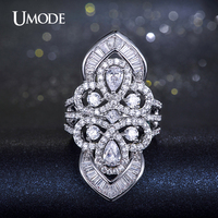 UMODE Brand White Gold Plated Multishaped Cut Top Grade AAA CZ Diamond Fashion Cocktail Rings For