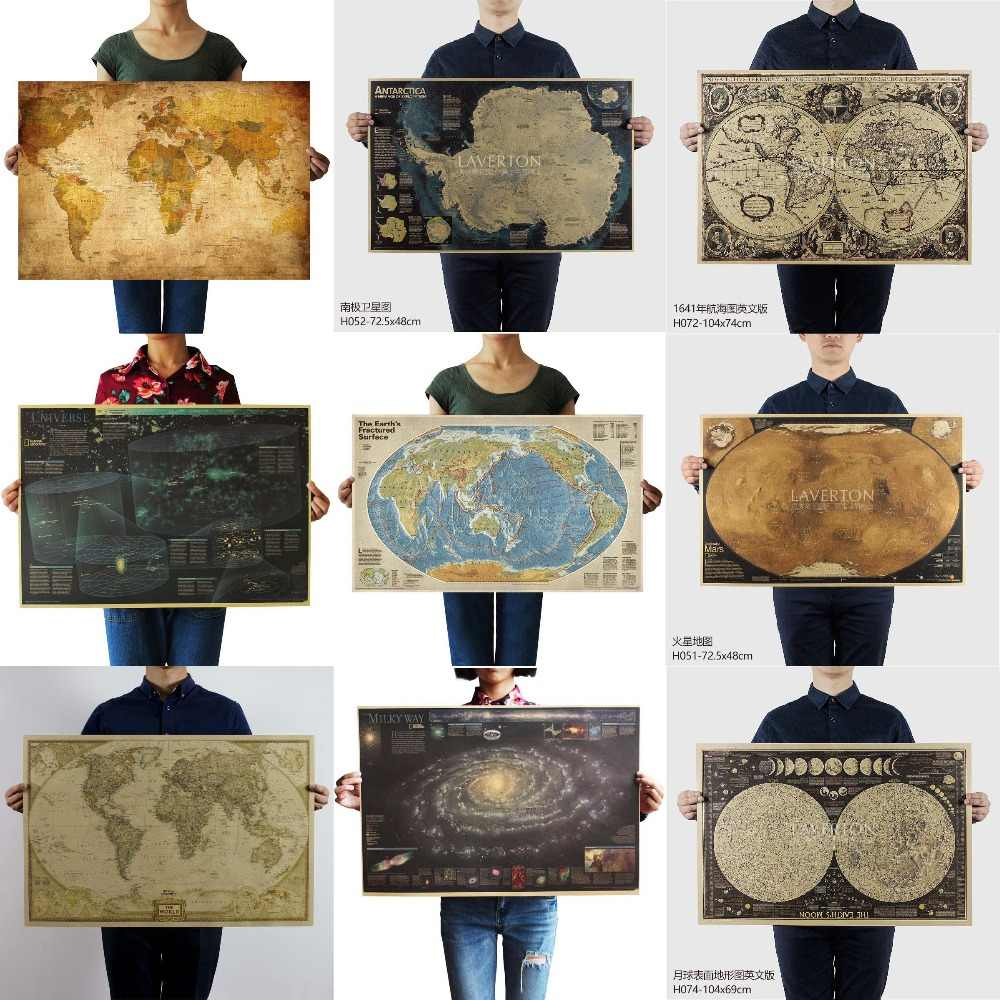 Earth Moon Mars World Map Milky way Nautical map Poster Bar Home Decor Kraft Paper Painting Wall Sticker Retro posters