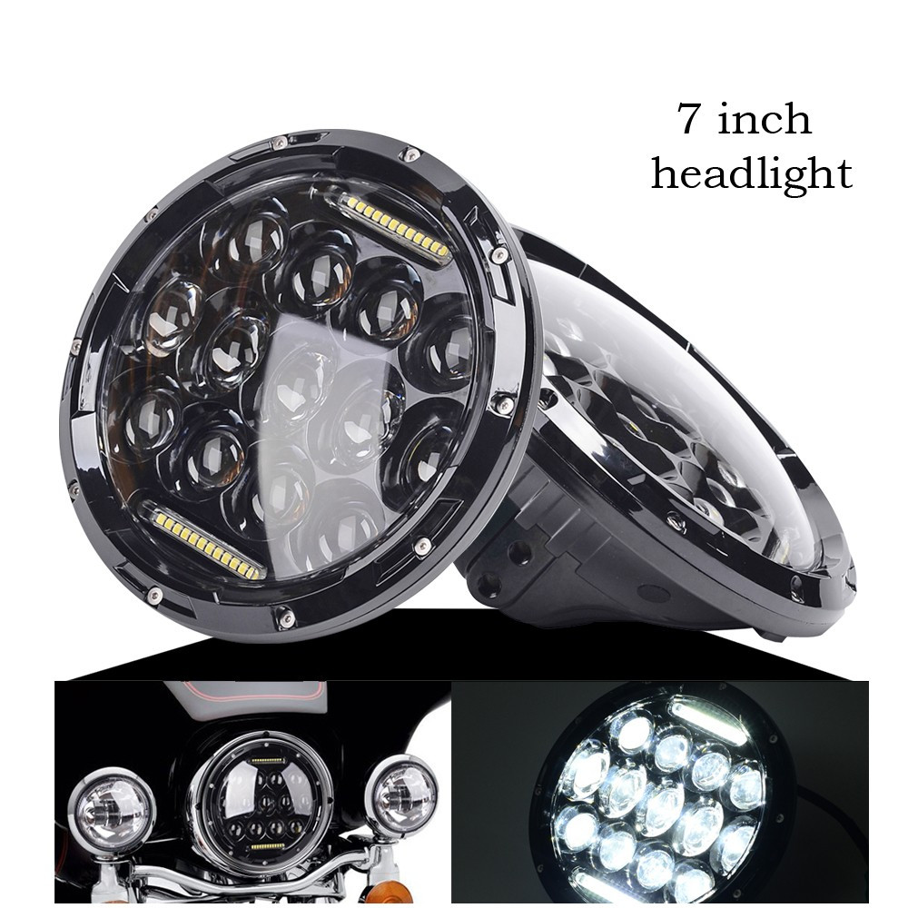 Pair 7 Inch Round Black Led Headlight with DRL Hi/lo Beam for Wrangler Jk Tj Harley with H4 Plug H4 h13 Adapter 1 set bass pegs 4 pcs quality double bass pegs 1 4 to 1 2 size bass parts double bass peg