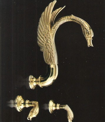 Free shipping gold PVD finish 3 pcs swan bathtub faucet WALL Mounted SWAN shower FAUCET