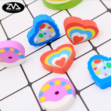 1X cute Creative cartoon heart shaped cake eraser modelling children stationery gift prizes  kawaii school supplies papelaria