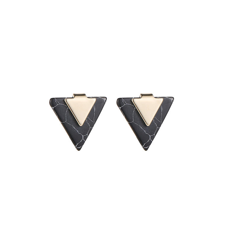 Triangle Geometric Stone Silver Gold Color Stainless Steel Trendy Office Career Stud Earrings for Women in Stud Earrings from Jewelry Accessories