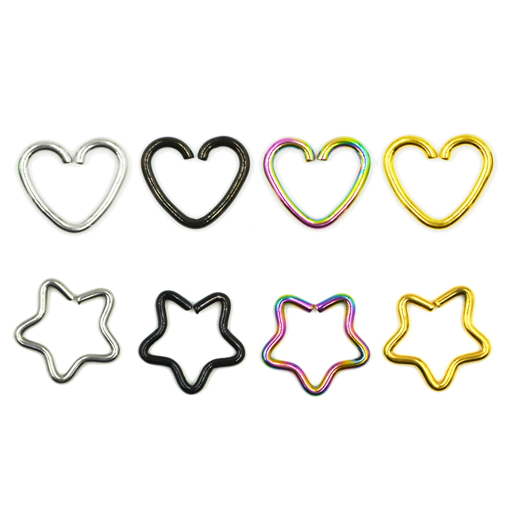1Piece Anodized Body Piercing Earring Daith Heart Ring Star Shape Tragus Cartilage Orbital Ear Helix Jewelry