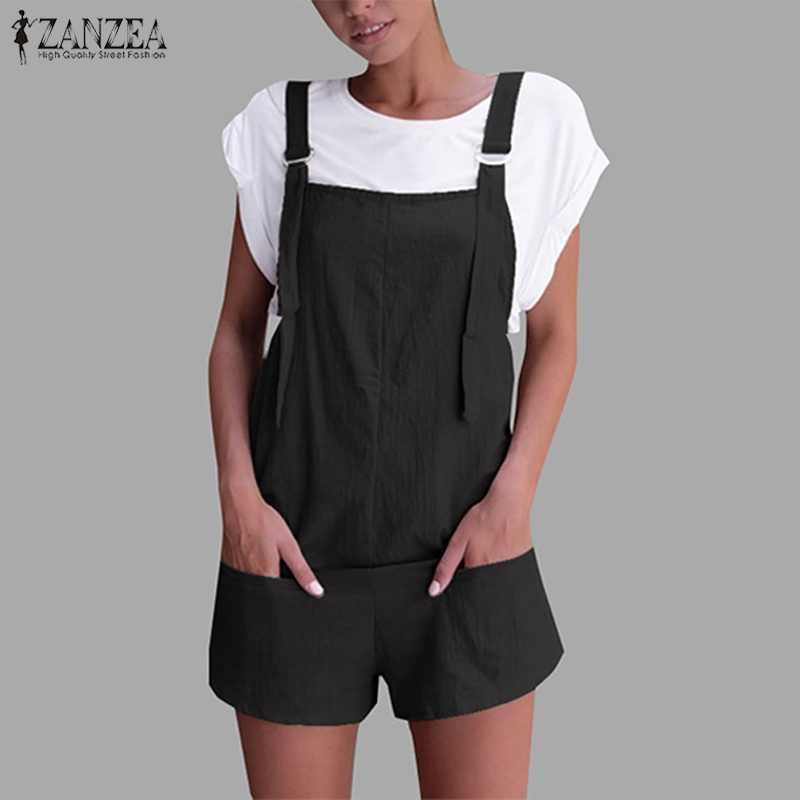 S 5XL ZANZEA 2019 verano mujeres Casual sólido sin mangas bolsillos Retro algodón Lino suelta fiesta corto monos mono