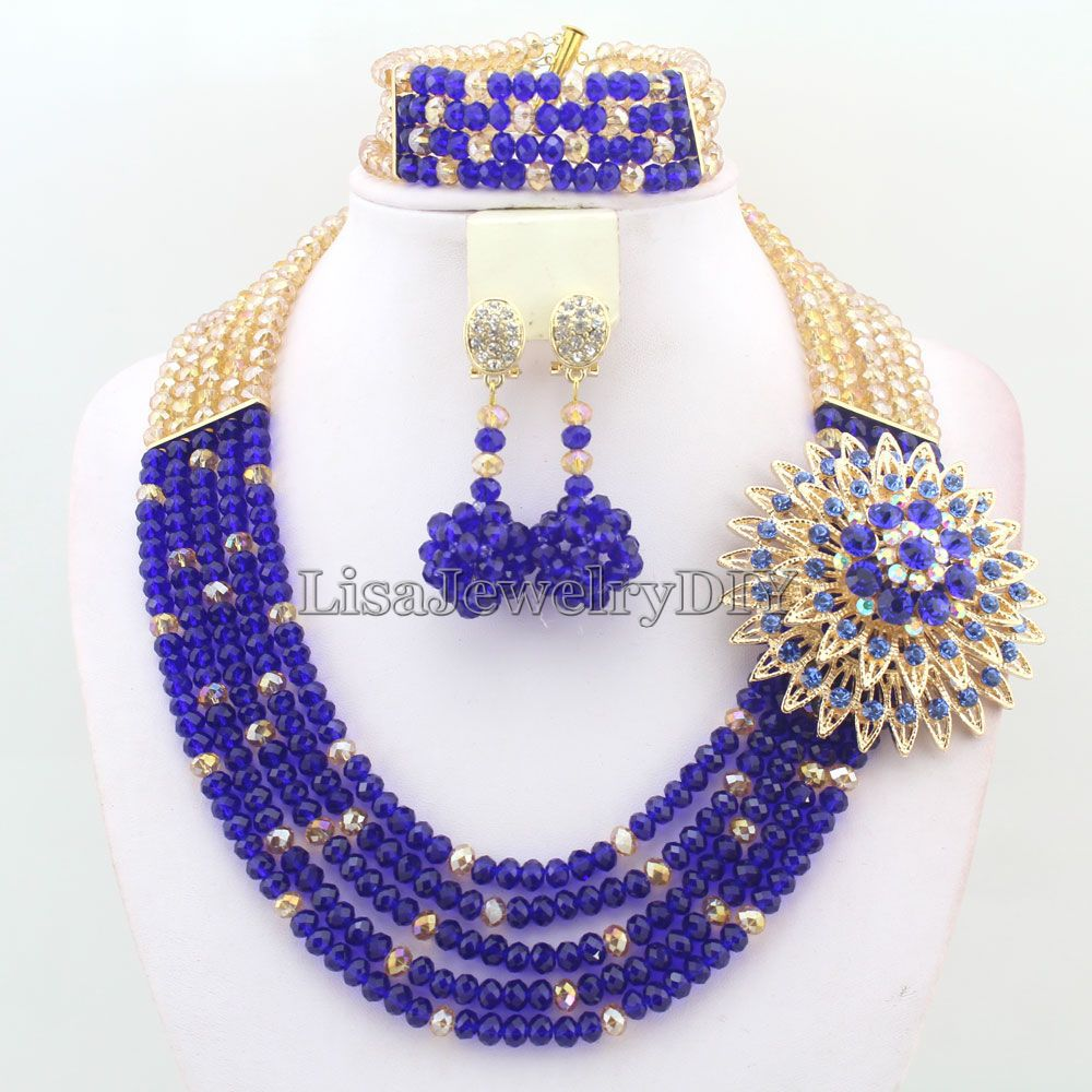 2019 New Nigerian Wedding Custume Bridal Necklace Jewelry Sets African Beads Jewelry Sets HD3362