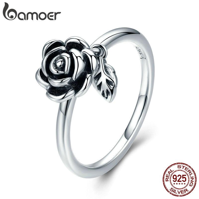 BAMOER 100% Real 925 Sterling Silver Romantic Rose Flower Leaves Female Finger Ring