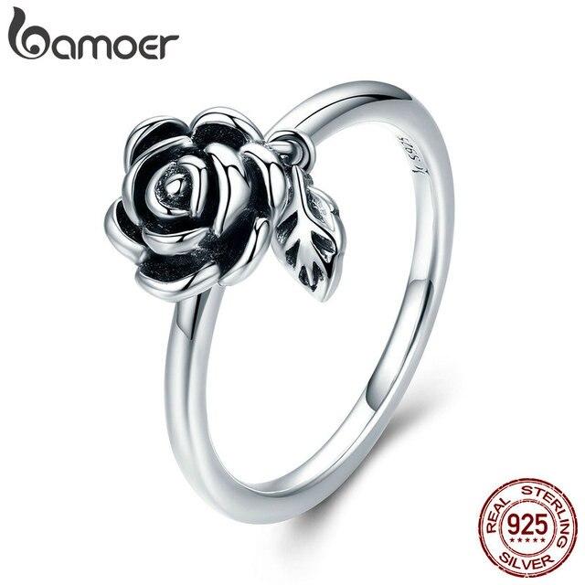 BAMOER 100% Reale 925 Sterling Silver Romantico Del Fiore della Rosa Foglie Femminile Anello di Barretta per le Donne di Nozze di Fidanzamento Gioielli SCR274