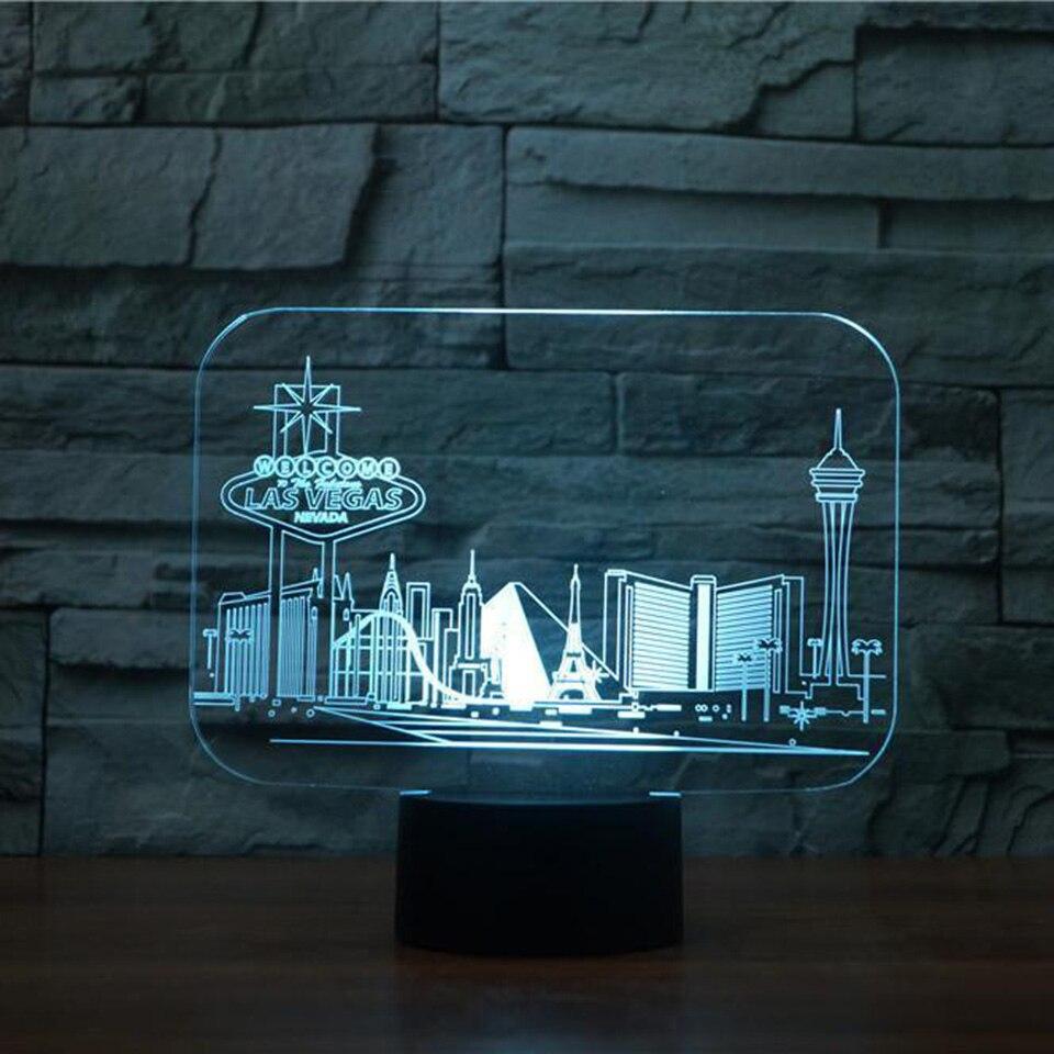 3D Led Vision 7 Couleurs Changeantes Las Vegas De Table De Construction lampe Chambre Atmosphère Sommeil Éclairage Usb Décor Enfants Cadeaux Nuit lumière