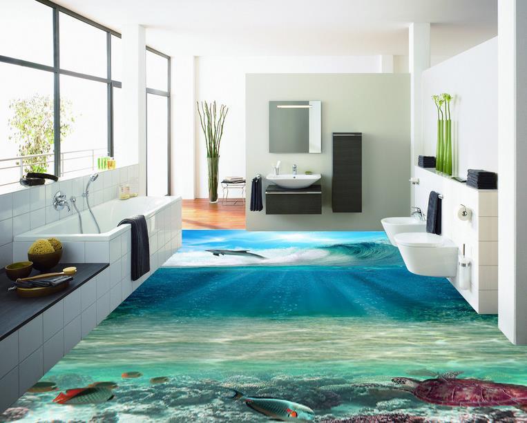 Custom 3d Flooring Ocean Self Adhesive Wallpaper Floor Tiles Waterproof For Bathroom Living