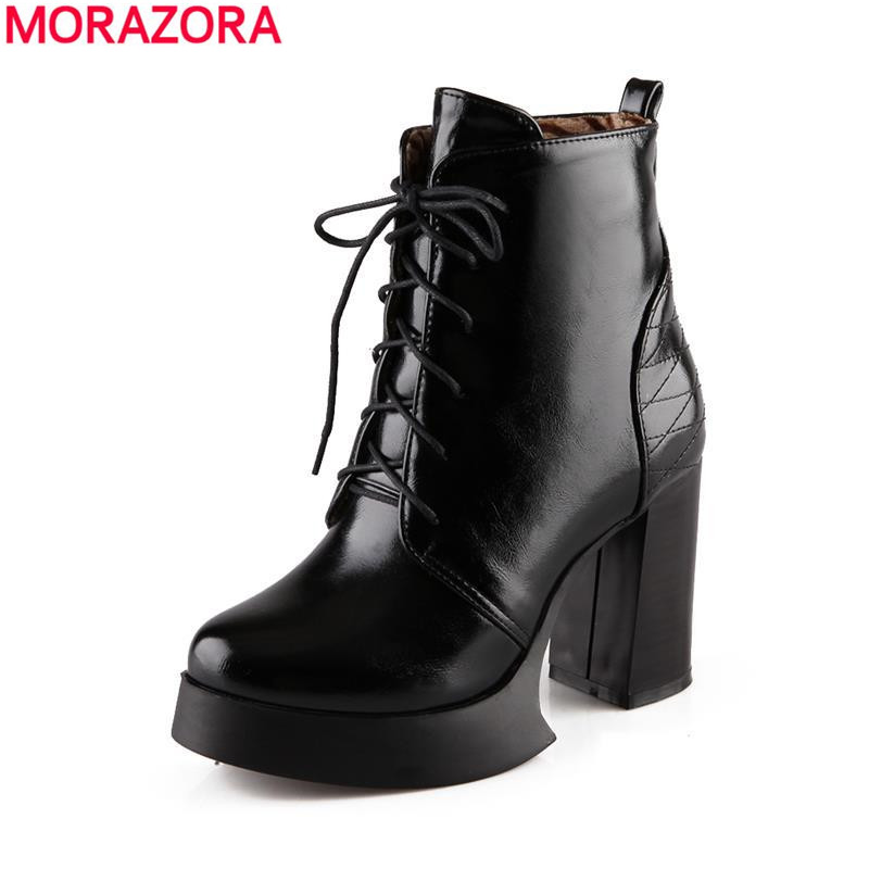 ФОТО HOt sale 2017 fur inside autumn winter shoes lace up pu leather women boots high heels comfortable solid ankle boots