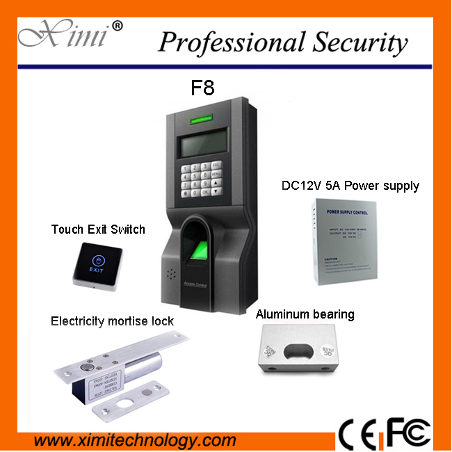 Free shipping F8 access control system with power supply, electric lock, touch exit button, bracket
