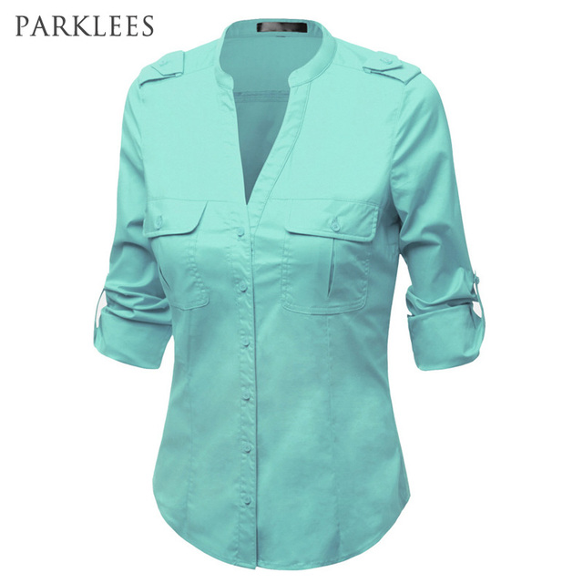 Deep V Neck Shirt Women Brand Design Business Blouses Women Casual Long  Sleeve Turn Down Collar bb0231e5cb66