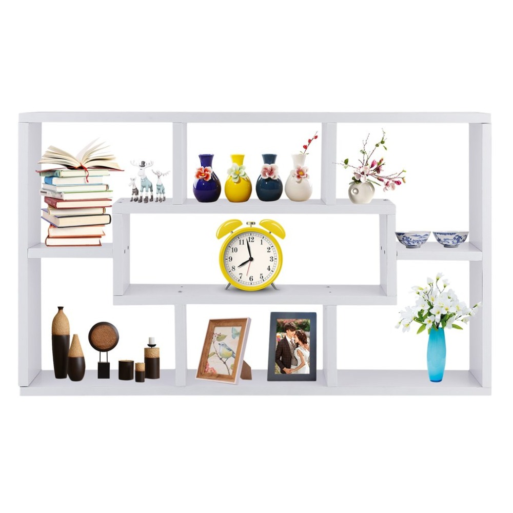 Multifunctional Chipboard Wall Storage Cabinet Book Rack Modern Craft Display Shelf Household 8 Compartment Sundries Rack все цены