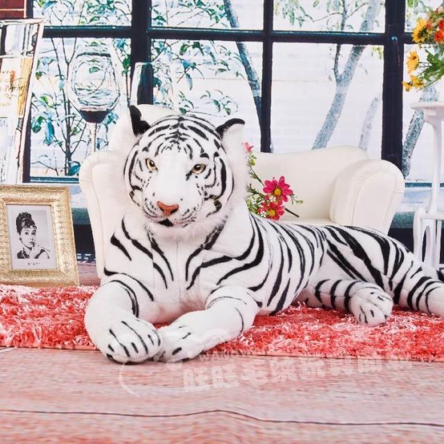 huge 105cm prone tiger simulation animal white tiger plush toy doll throw pillow Christmas gift w7973 biggest animal plush toys tiger toy huge stuffed tiger doll tiger pillow birthday gift 130cm