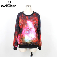 20pcs Lot Women S Plus Size Winter Hoodies 2013 Fashion Sweatershirts Red Blue Galaxy Printing Red