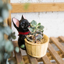 Decorative Black French Dog Resin Flower Cactus Succulent Pot Planter Bonsai Home Garden Pot Decor