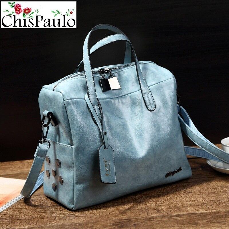 CHISPAULO NEW 2017 Luxury Women Bags Brand Designer Oil Wax Cowhide Genuine Leather Handbags Fashion Women's Shoulder Bags X92