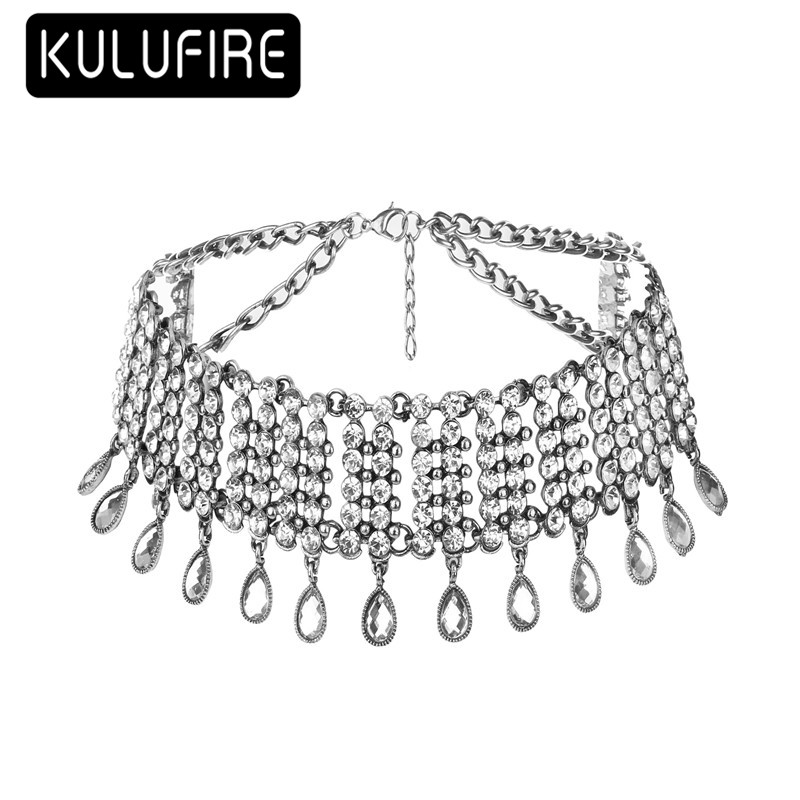 chokers collares largos choker bohemian jewelry chockers silver chain bijou sautoir chok ...