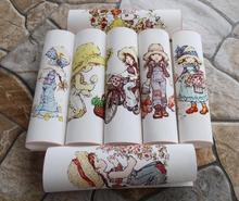 Menina de fazenda tecido tingido Mão 7 PCS X 15 CM Assorted Cotton Linen Impresso Quilt Tecido Para DIY Costura Patchwork Home Textile Decor