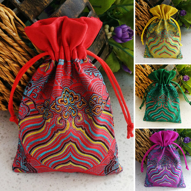 20Pcs Silk Drawstring Jewelry Organizer Pouch Mixed Colors Satin