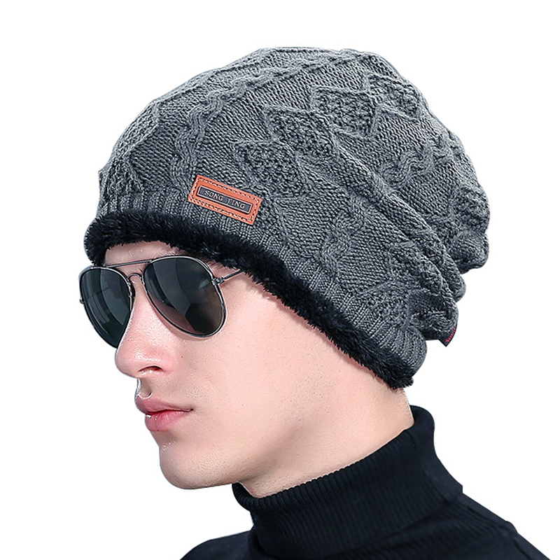 Winter Hats for Men Knitting wool Beanie women Hip-Hop Cap men's Beanies Plus velvet Elastic bone Solid color keep warm gorro pentacle star warm skull beanie hip hop knit cap ski crochet cuff winter hat for women men new sale