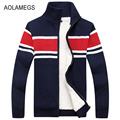 Aolamegs Hombres Suéter Cardigan Otoño Invierno Chaqueta Ocasional de Los Hombres Gruesa Caliente Forro Sweatercoat Masculina Tejer Sweter Hombre M-3XL