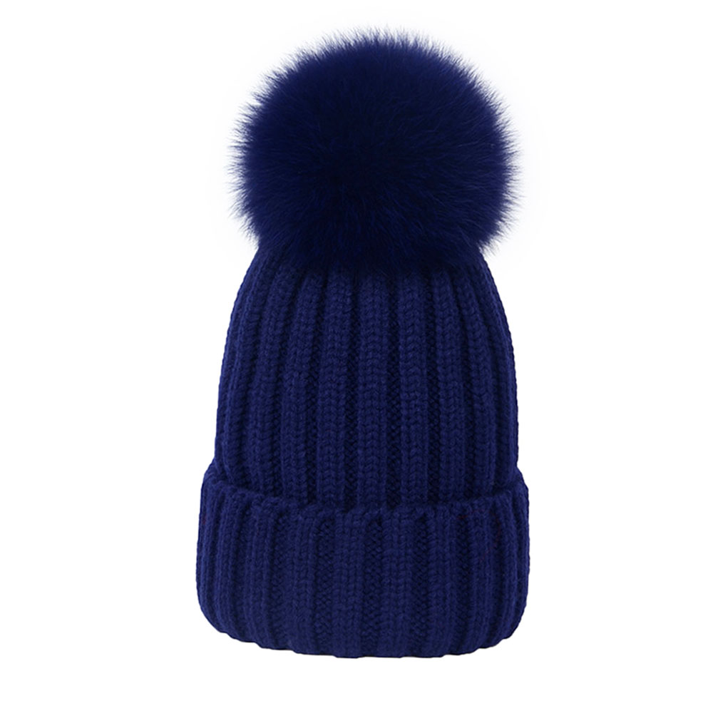 ee07b16e028 Unisex Brand Winter Fox Pom Pom Fur Hat For Women Simple And Stylish Thick  Girl s Knitted