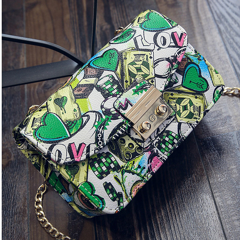 Image 2 - 2019 New Women Bags Summer Graffiti Ladies designer handbags high quality chain mini bag women messenger bags for women Clutchmessenger bags for womenmini bag womendesigner women bag -