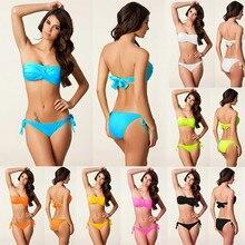 d60623789344b Bandeau Twisted Top Swimwear Removable Neck Halter Swimsuit 2019 Black  Women Photo Sponge Push Up Victoria