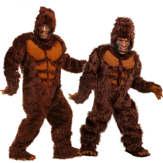 brown gorilla costumes without mask funny animal jumpsuit halloween costumes for adults carnival cosplay clothes
