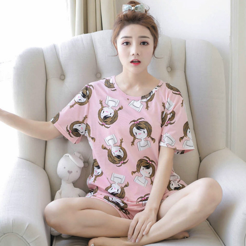 Yasemeen Short Sleeve Modal Pajamas Set Korean Casual Sleepwear Short Nightshirts Cute Short Nightgrown Comfort Women Pajamas