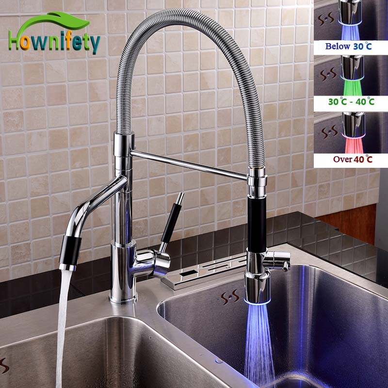 Contemporary Chrome Polished LED Change Kitchen Faucet