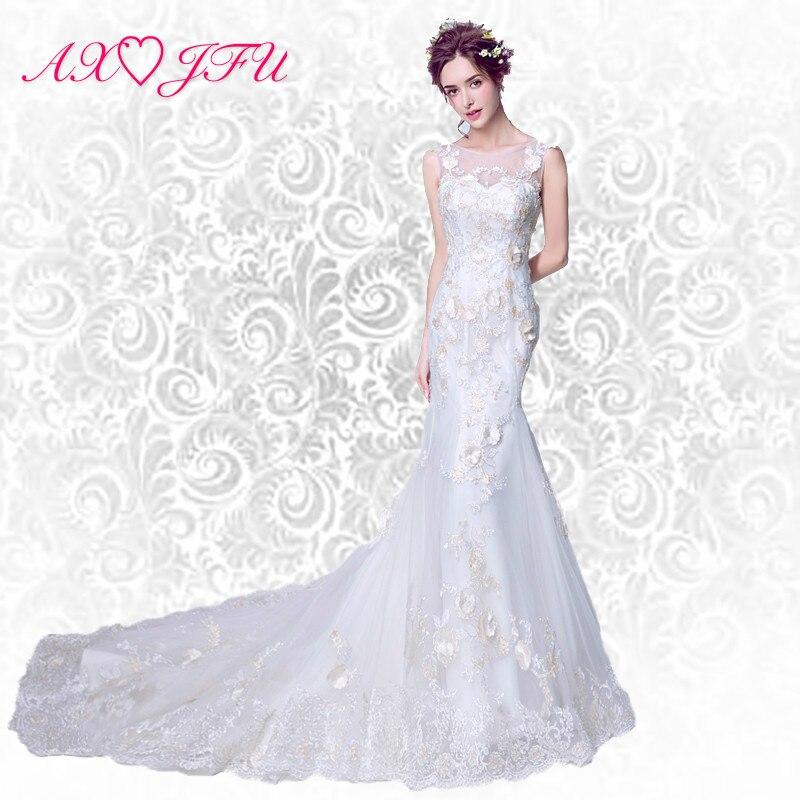 AXJFU Handmade flowers wedding dress graceful luxury art fishtail tail wedding dress bridal lace wedding dress 9716