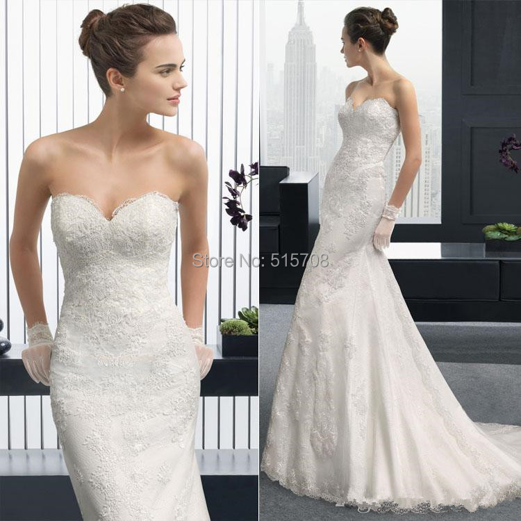 Cheap White Ivory Wedding Dresses Mermaid Lace Appliques: New Arrival Mermaid Wedding Dresses Sweetheart Backless