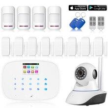 Chuangkesafe 8x Sensor de Puerta GSM APP G19 RFID Wireless/Wired Home Intruder Sistema de Alarma Antirrobo + wifi HD ip cámara