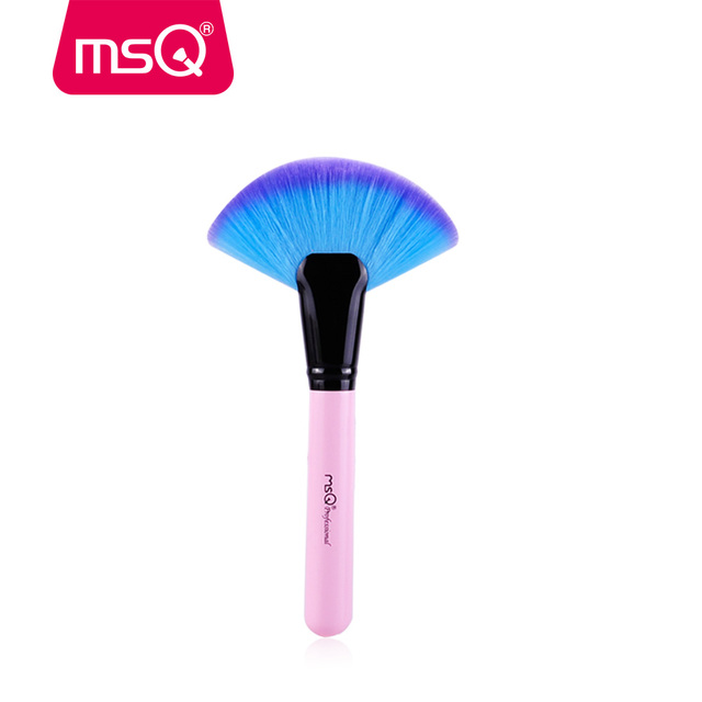 MSQ Pro Large Facial Fan Powder Makeup Brush Soft Beauty Synthetic Hiar Cosmetics Make Up Fan Brush Wood Handle Beauty Tool