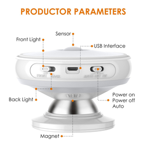 Image 3 - Ster Regen Motion Sensor Licht 360 Graden Roterende Oplaadbare Magnetische Led Night Light Wall Lamp Voor Trap Keuken Wc Licht