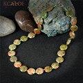KCALOE Jasper Pedra Colar Handmade Mulheres Jóias Rodada Moda Indiana Ágata Pedras Naturais Chocker Colar Colar Feminino