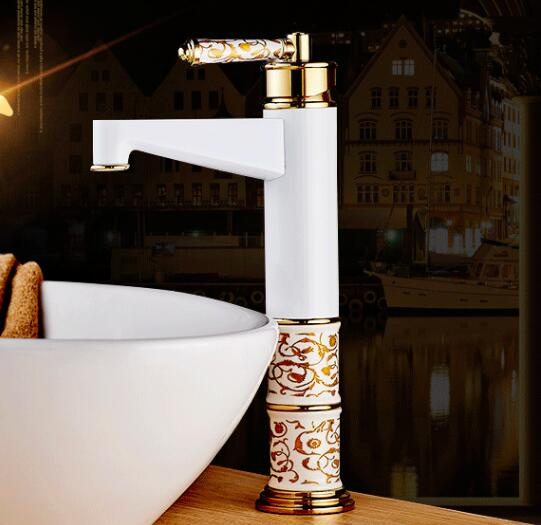 European High Quality Folding Kitchen Faucet Household: European Design Basin Faucet High Quality Gold And White